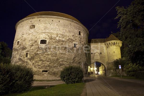 Tallinn stad poort nacht toerisme Estland Stockfoto © chrisdorney