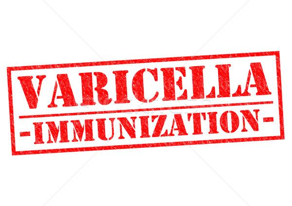Immunizálás piros pecsét fehér gyerekek beteg Stock fotó © chrisdorney