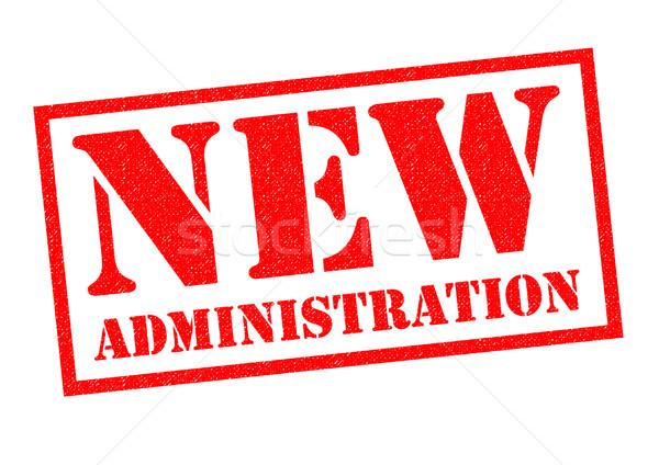 Nouvelle administration rouge blanche tag Photo stock © chrisdorney