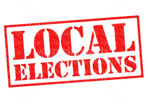 Yerel seçimler kırmızı beyaz imzalamak Stok fotoğraf © chrisdorney