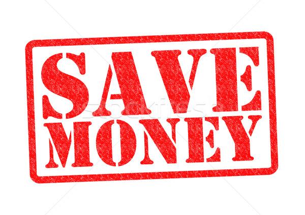 Megtakarítás pecsét fehér bank érmék jegyzetek Stock fotó © chrisdorney