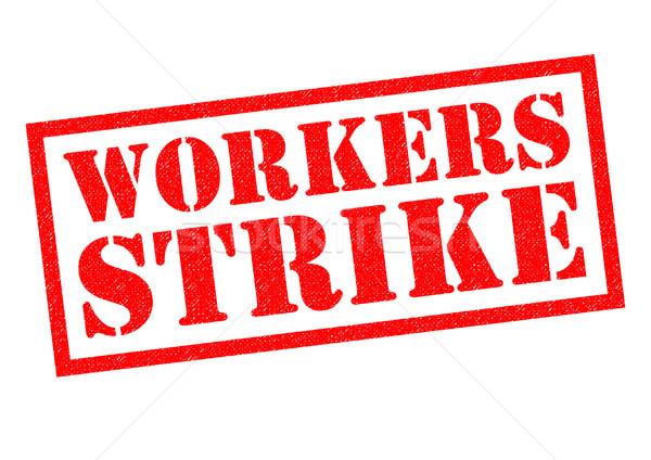 Trabalhadores greve vermelho branco lei Foto stock © chrisdorney