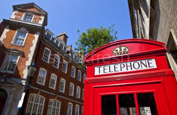 Kırmızı telefon kutu Londra ikonik telefon Stok fotoğraf © chrisdorney