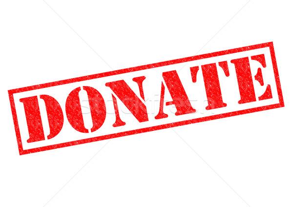 Foto d'archivio: Donare · rosso · bianco · etichetta · aiutare
