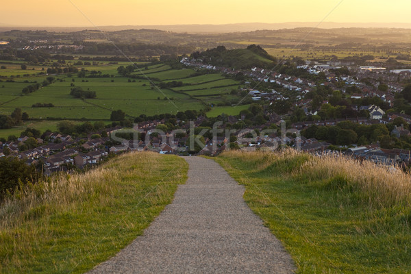 Walking down from the Glastonbury Tor at Sunset Stock photo © chrisdorney
