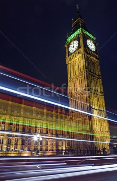 Light Trails Passing the Houses of Parliament Stock photo © chrisdorney