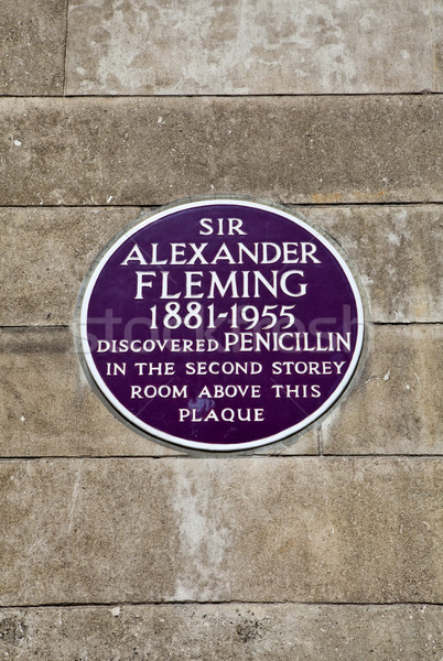 Sir Alexander Fleming Plaque at St. Mary's Hospital in London Stock photo © chrisdorney