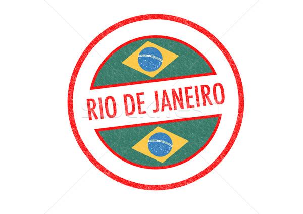 Rio de Janeiro pecsét fehér zászló vakáció gomb Stock fotó © chrisdorney