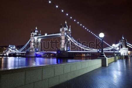 Stok fotoğraf: Tower · Bridge · gece · görmek · thames · yol · Londra