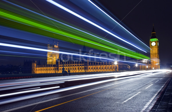 Traffic Trails Passing the Houses of Parliament Stock photo © chrisdorney