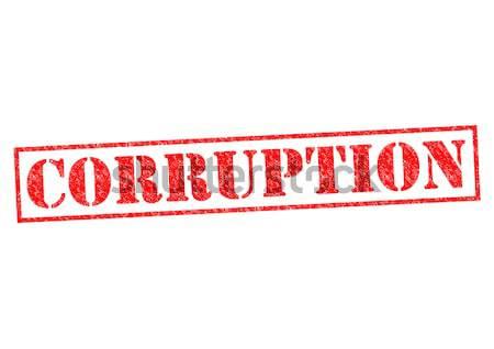 Korrupció piros pecsét fehér jogi címke Stock fotó © chrisdorney