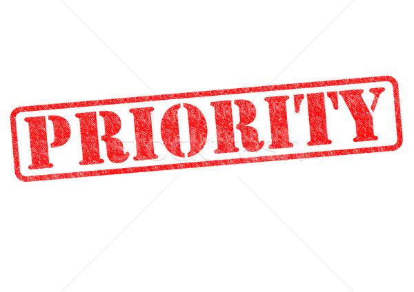 Prioritás piros pecsét fehér iroda posta Stock fotó © chrisdorney