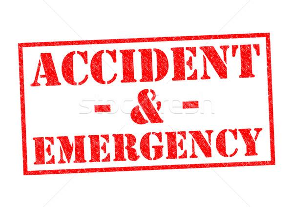 Baleset vészhelyzet piros pecsét fehér kórház Stock fotó © chrisdorney