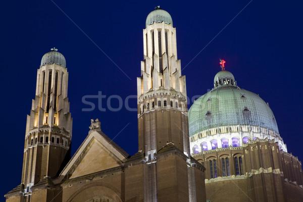 Basiliek heilig hart Brussel schemering gebouw Stockfoto © chrisdorney
