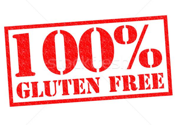 100 gluténmentes piros pecsét fehér egészség Stock fotó © chrisdorney