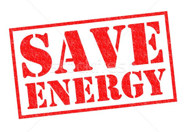 Salvar energia vermelho branco dinheiro Foto stock © chrisdorney