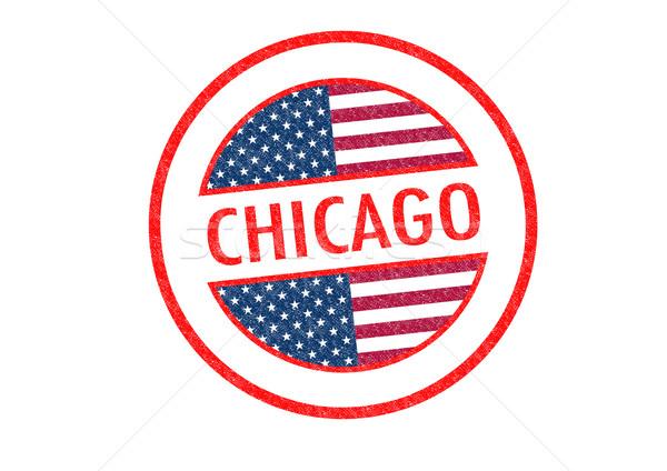 Chicago pecsét fehér utazás piros bélyeg Stock fotó © chrisdorney