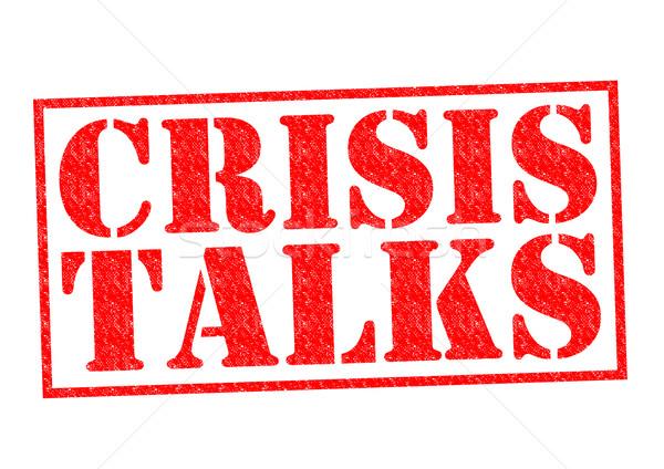 Kriz kırmızı beyaz savaş konuşmak Stok fotoğraf © chrisdorney