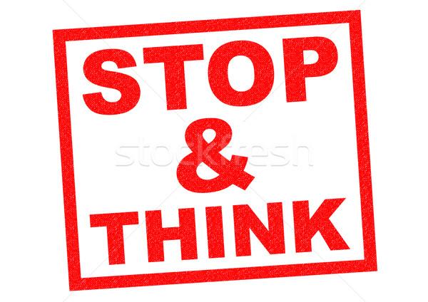 Pare pensar vermelho branco saúde Foto stock © chrisdorney