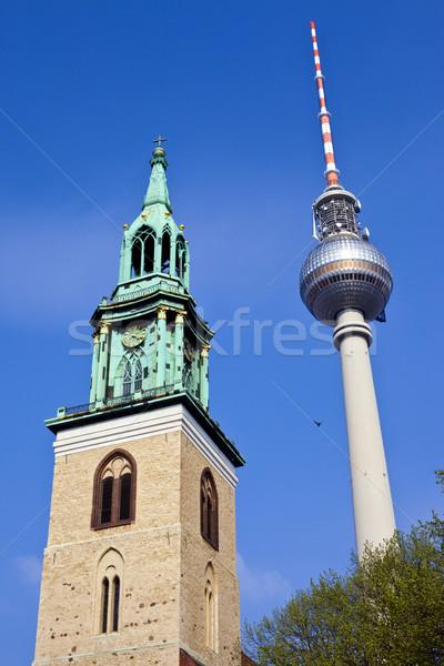 Tv torony Berlin Fernsehturm Németország építészet Stock fotó © chrisdorney