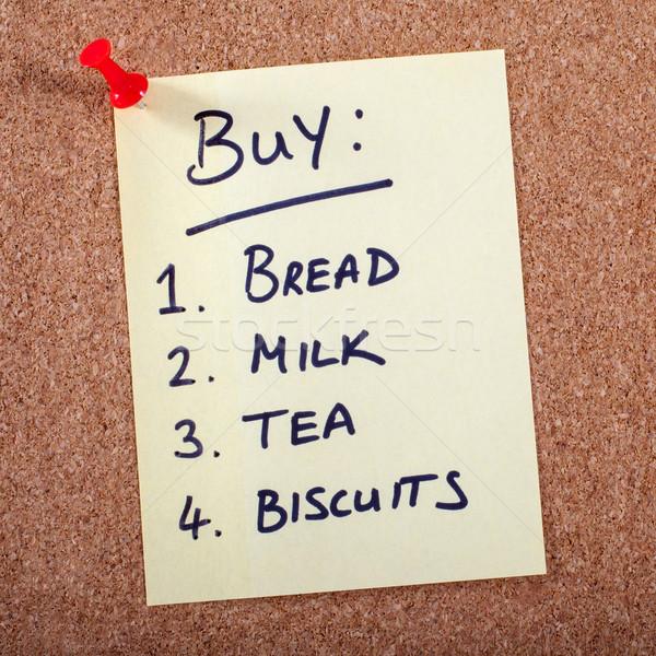 Vásárlás lista étel kenyér ital tej Stock fotó © chrisdorney