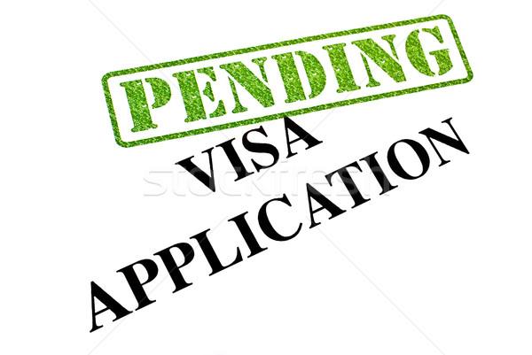 Visum toepassing in afwachting van reizen werken stempel Stockfoto © chrisdorney