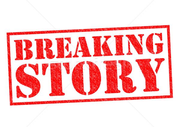 Történet piros pecsét fehér hírek felirat Stock fotó © chrisdorney