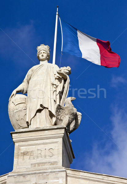 Statue and French Flag in Paris Stock photo © chrisdorney