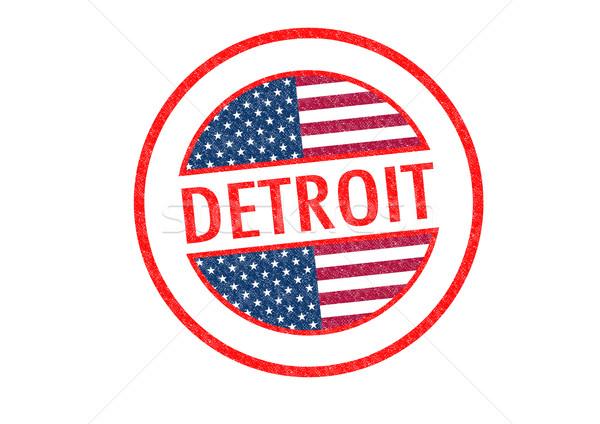 Detroit blanco bandera vacaciones botón Foto stock © chrisdorney