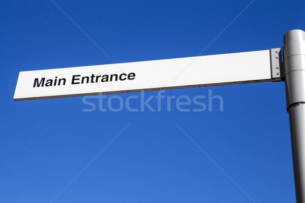 Główny wejście podpisania kierunku sposób pomoc Zdjęcia stock © chrisdorney