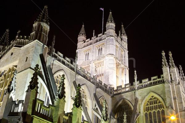 Foto stock: Banho · abadia · noite · histórico · arquitetura · gótico