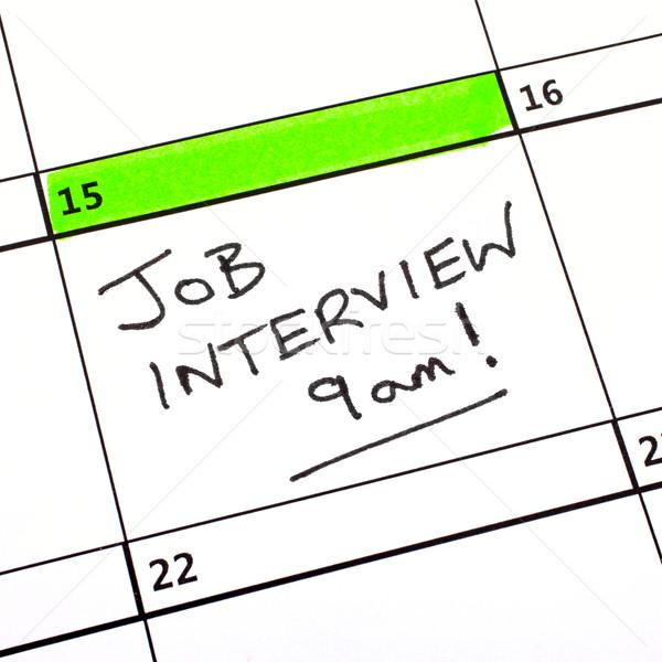 Entrevista de emprego data calendário escrito trabalhar trabalhando Foto stock © chrisdorney