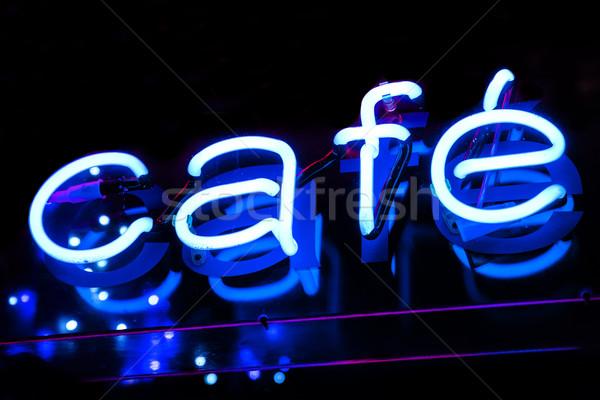 Kafe neon neon imzalamak mavi Stok fotoğraf © chrisdorney