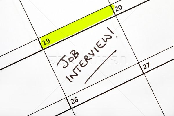 Entrevista de emprego data calendário escrito escritório papel Foto stock © chrisdorney