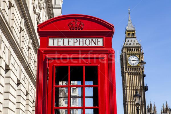 Kırmızı telefon kutu Big Ben Londra ikonik Stok fotoğraf © chrisdorney