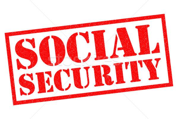 Társadalombiztosítás piros pecsét fehér egészség biztonság Stock fotó © chrisdorney