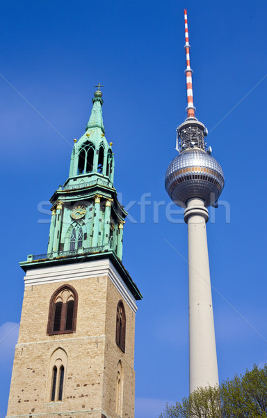 TV Tower and St Marienkirche in Berlin Stock photo © chrisdorney
