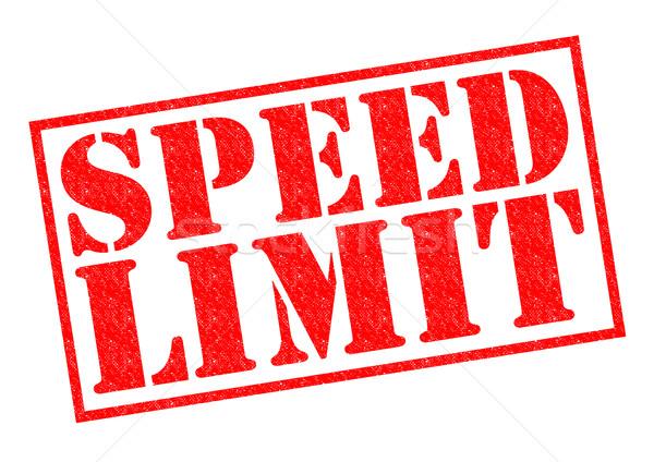 Limite de velocidade vermelho branco carro lei Foto stock © chrisdorney
