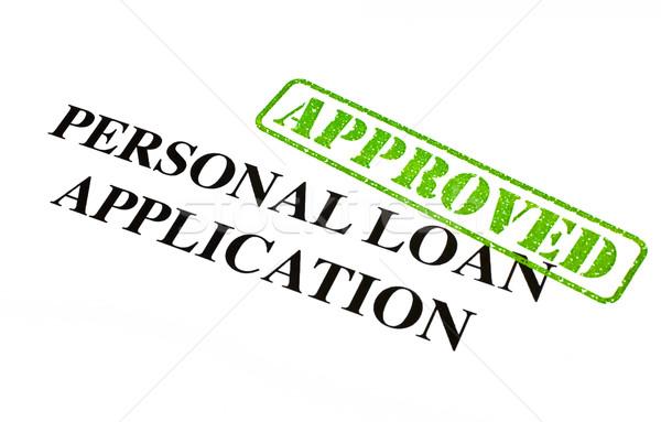 Személyes kölcsön alkalmazás elismert közelkép irat Stock fotó © chrisdorney