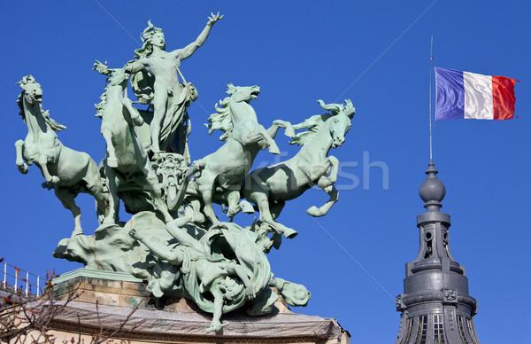 Paris impressionante cavalo viajar bandeira arquitetura Foto stock © chrisdorney