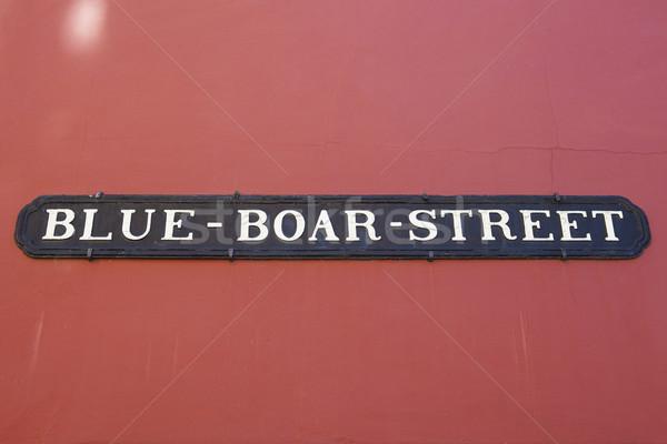 синий кабан улице Оксфорд улице подписать исторический Сток-фото © chrisdorney