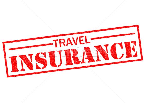 Voyage assurance rouge blanche tampon Photo stock © chrisdorney