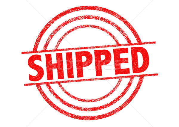 SHIPPED Rubber Stamp over a white background. Stock photo © chrisdorney