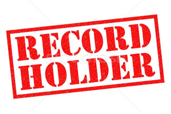 Rekord czerwony biały sportowe podpisania Zdjęcia stock © chrisdorney