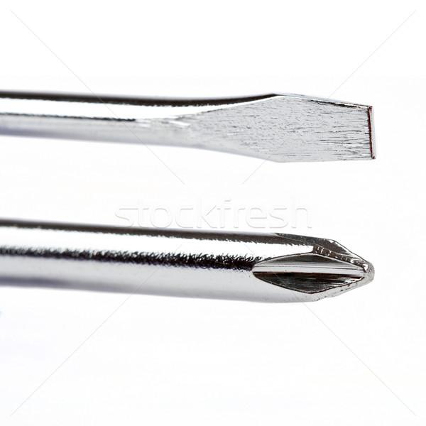 Twee schroevendraaier bouw werk metaal industrie Stockfoto © chrisdorney