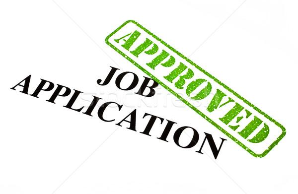 Lavoro applicazione approvato primo piano documento news Foto d'archivio © chrisdorney