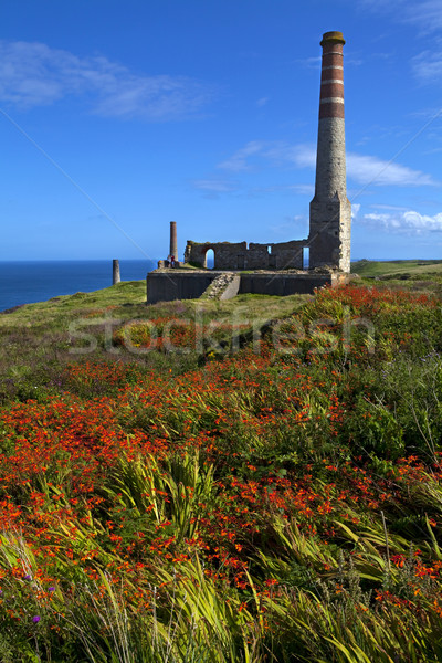 Chimney Remains at Levant Tin Mine in Cornwall Stock photo © chrisdorney