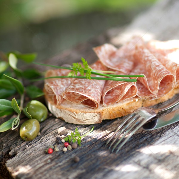 Rustic bread with salami Stock photo © ChrisJung