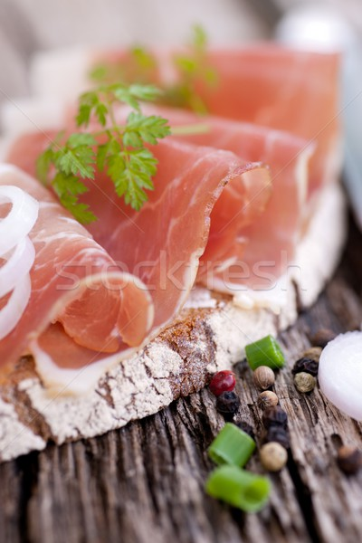 Rustic bread with cured ham Stock photo © ChrisJung