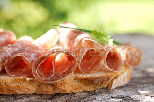 Rustic bread ith salami Stock photo © ChrisJung